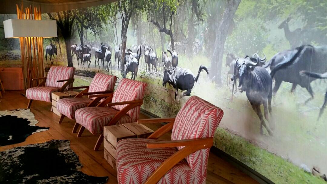 The lounge of Rhino Ridge Safari Lodge which Sphamandla manages