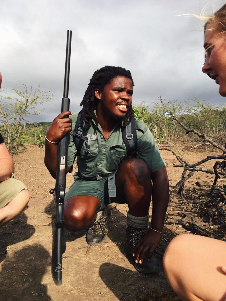 Experienced guide Nunu Jobe leading a walking safari from Rhino Ridge Safari Lodge