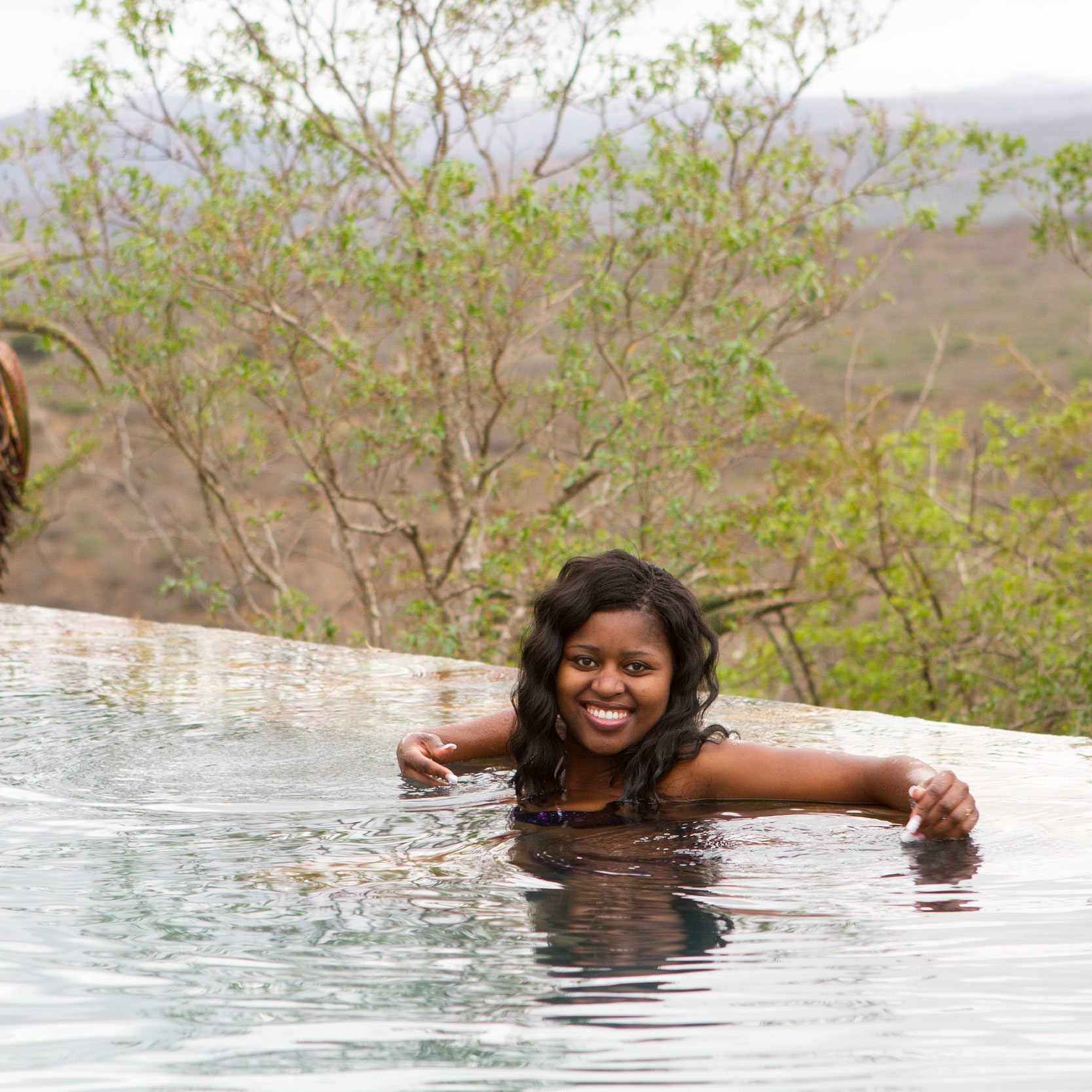 Miss Hlabisa 2015 enjoys the pool at Rhino Ridge Safari Lodge